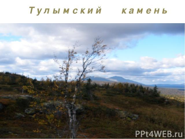 Т у л ы м с к и й к а м е н ь Тулымский камень является высшей точкой Пермского края, расположен в бассейне р. Вишеры. Длина 35 км. Высота до 1377 м. Сложен конгломератами и песчаниками. Вершина уплощённая, со скалистыми останцами.