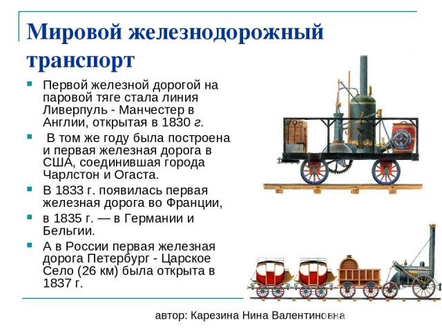Мировой железнодорожный транспорт Первой железной дорогой на паровой тяге стала линия Ливерпуль - Манчестер в Англии, открытая в 1830 г. В том же году была построена и первая железная дорога в США, соединившая города Чарлстон и Огаста. В 1833 г. поя…