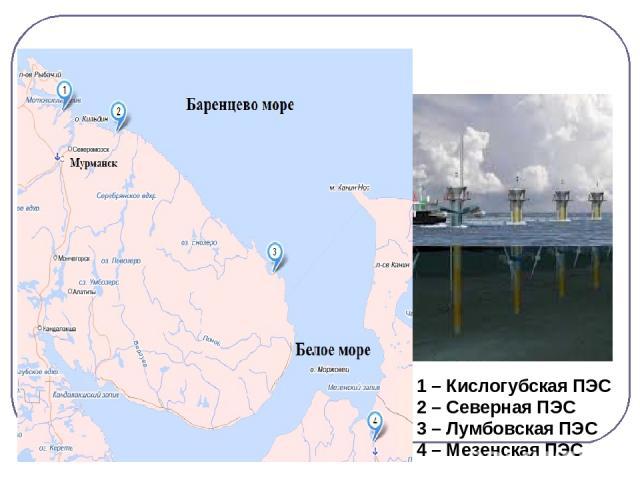 Применение волн. 1 – Кислогубская ПЭС 2 – Северная ПЭС 3 – Лумбовская ПЭС 4 – Мезенская ПЭС