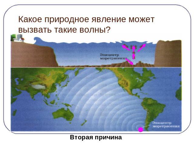 Какое природное явление может вызвать такие волны? Причина следствие Землетрясение цунами Вторая причина