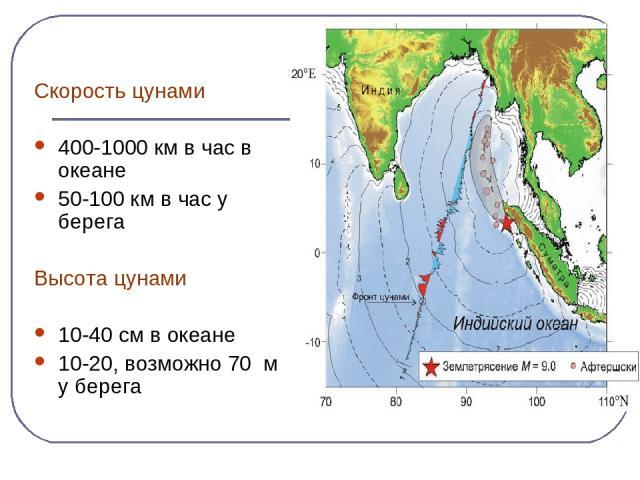 Скорость цунами 400-1000 км в час в океане 50-100 км в час у берега Высота цунами 10-40 см в океане 10-20, возможно 70 м у берега