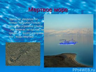 Мертвое море Здесь не увидишь ни птицы, ни рыбы Только песок да угрюмые глыбы. Н