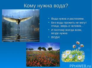 Кому нужна вода? Вода нужна и растениям. Без воды прожить не могут птица, зверь