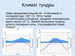 Климат тундры Зима продолжительная (8—9 месяцев) и холодная (до −50° С). Лето та