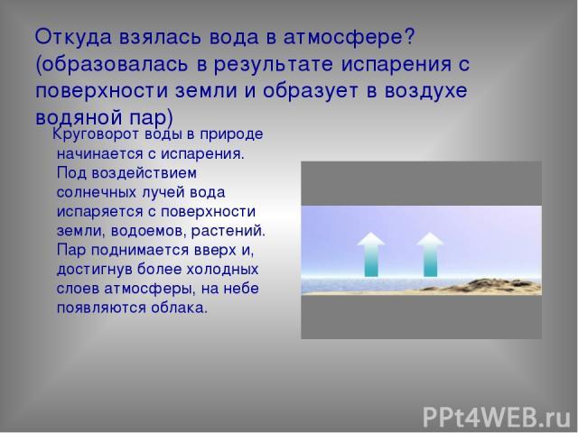 Откуда взялась вода в атмосфере? (образовалась в результате испарения с поверхности земли и образует в воздухе водяной пар) Круговорот воды в природе начинается с испарения. Под воздействием солнечных лучей вода испаряется с поверхности земли, водое…