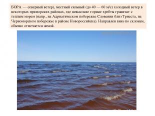 БОРА — северный ветер), местный сильный (до 40 — 60 м/с) холодный ветер в некото