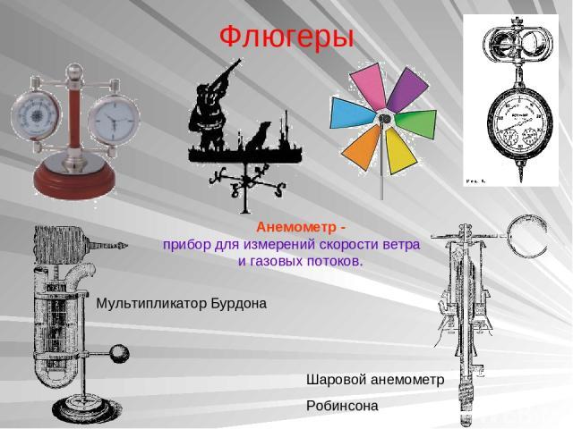Флюгеры Шаровой анемометр Робинсона Мультипликатор Бурдона Анемометр - прибор для измерений скорости ветра игазовых потоков.