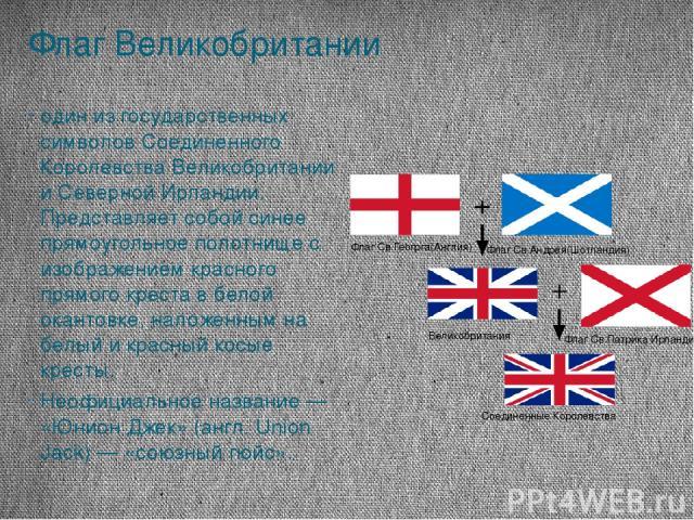 Флаг Великобритании один из государственных символов Соединенного Королевства Великобритании и Северной Ирландии. Представляет собой синее прямоугольное полотнище с изображением красного прямого креста в белой окантовке, наложенным на белый и красны…