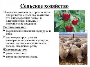 Сельское хозяйство В Болгарии созданы все предпосылки для развития сельского хоз