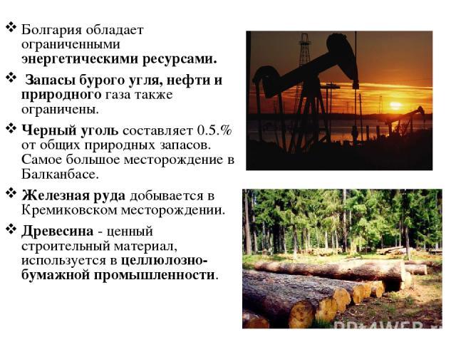 Болгария обладает ограниченными энергетическими ресурсами. Запасы бурого угля, нефти и природного газа также ограничены. Черный уголь составляет 0.5.% от общих природных запасов. Самое большое месторождение в Балканбасе. Железная руда добывается в К…