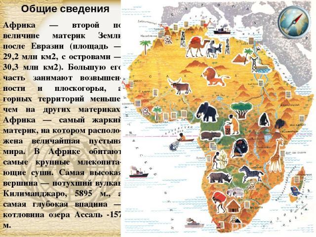 Африка — второй по величине материк Земли после Евразии (площадь — 29,2 млн км2, с островами — 30,3 млн км2). Большую его часть занимают возвышен-ности и плоскогорья, а горных территорий меньше, чем на других материках. Африка — самый жаркий материк…