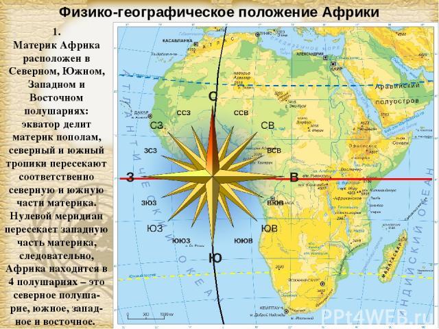 Физико-географическое положение Африки 1. Материк Африка расположен в Северном, Южном, Западном и Восточном полушариях: экватор делит материк пополам, северный и южный тропики пересекают соответственно северную и южную части материка. Нулевой мериди…