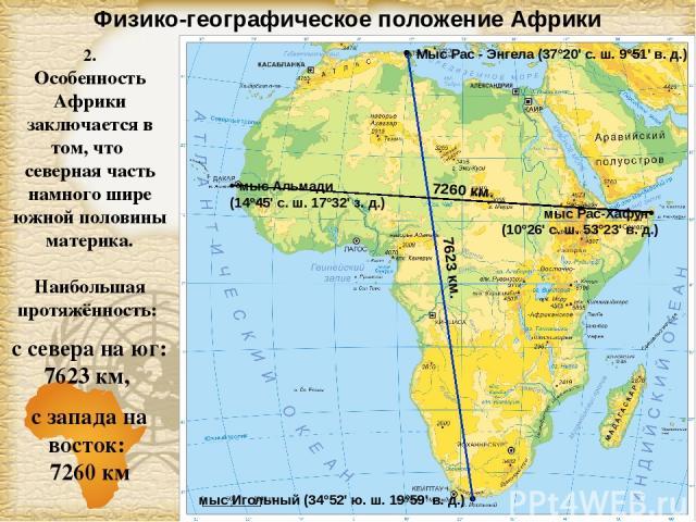 Физико-географическое положение Африки 2. Особенность Африки заключается в том, что северная часть намного шире южной половины материка. Наибольшая протяжённость: с севера на юг: 7623 км, с запада на восток: 7260 км Мыс Рас - Энгела (37°20' с. ш. 9°…