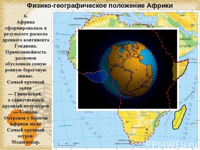 Физико-географическое положение Африки 6. Африка сформировалась в результате раскола древнего континента Гондвана. Прямолинейность разломов обусловила самую ровную береговую линию. Самый крупный залив — Гвинейский, а единственный крупный полуостров …
