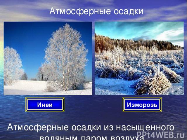 Атмосферные осадки Атмосферные осадки из насыщенного водяным паром воздуха Иней Изморозь