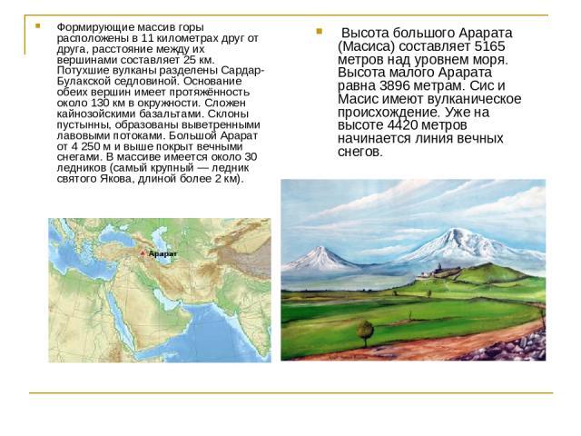 Высота большого Арарата (Масиса) составляет 5165 метров над уровнем моря. Высота малого Арарата равна 3896 метрам. Сис и Масис имеют вулканическое происхождение. Уже на высоте 4420 метров начинается линия вечных снегов. Формирующие массив горы распо…