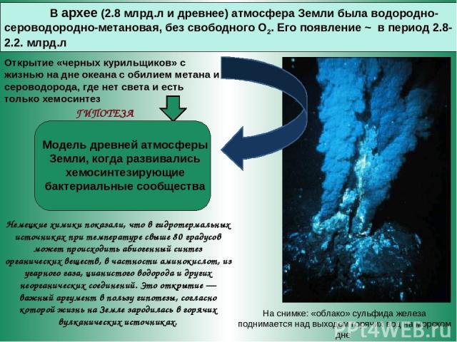 В архее (2.8 млрд.л и древнее) атмосфера Земли была водородно-сероводородно-метановая, без свободного О2. Его появление ~ в период 2.8-2.2. млрд.л Открытие «черных курильщиков» с жизнью на дне океана с обилием метана и сероводорода, где нет света и …