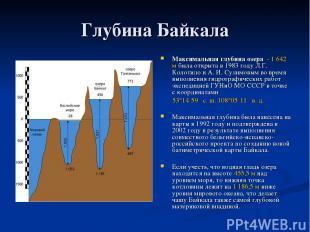 Глубина Байкала Максимальная глубина озера - 1642 м была открыта в 1983 году Л.