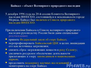 Байкал – объект Всемирного природного наследия 5 декабря 1996 года на 20-й сесси