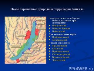 Особо охраняемые природные территории Байкала Непосредственно на побережье Байка