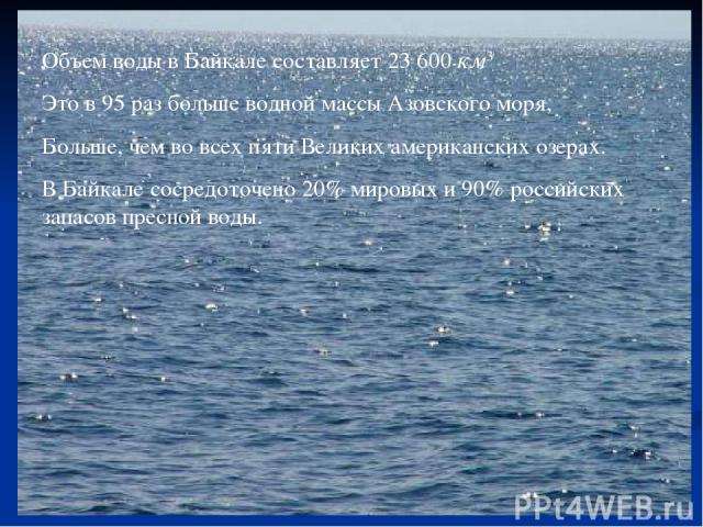 Объем воды в Байкале составляет 23600км3 Это в 95 раз больше водной массы Азовского моря, Больше, чем во всех пяти Великих американских озерах. В Байкале сосредоточено 20% мировых и 90% российских запасов пресной воды.