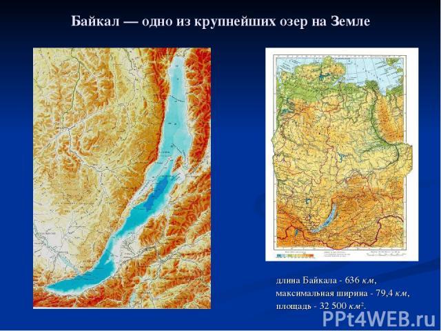 Байкал— одно из крупнейших озер на Земле длина Байкала- 636км, максимальная ширина- 79,4км, площадь- 32500км2.