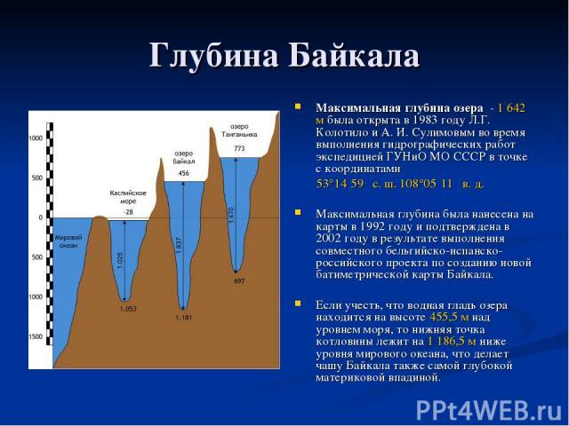 Глубина Байкала Максимальная глубина озера - 1642 м была открыта в 1983 году Л.Г. Колотило и А. И. Сулимовым во время выполнения гидрографических работ экспедицией ГУНиО МО СССР в точке с координатами 53°14′59″ с.ш. 108°05′11″ в.д. Максимальная г…