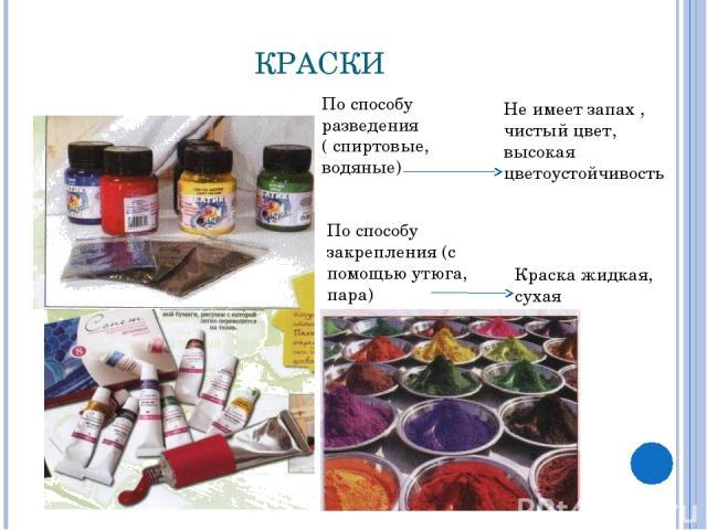 КРАСКИ По способу разведения ( спиртовые, водяные) Не имеет запах , чистый цвет, высокая цветоустойчивость По способу закрепления (с помощью утюга, пара) Краска жидкая, сухая