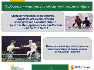 10 Особенности медицинского обеспечения паралимпийцев * Специализированная прогр