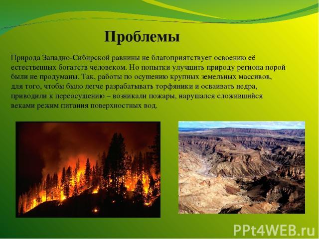 Проблемы Природа Западно-Сибирской равнины не благоприятствует освоению её естественных богатств человеком. Но попытки улучшить природу региона порой были не продуманы. Так, работы по осушению крупных земельных массивов, для того, чтобы было легче р…