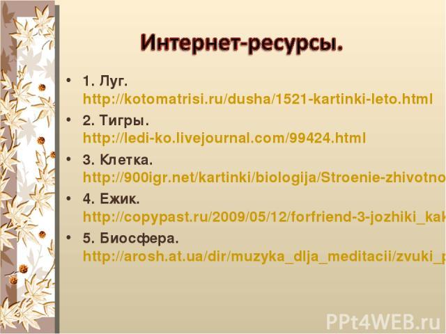 1. Луг. http://kotomatrisi.ru/dusha/1521-kartinki-leto.html 2. Тигры. http://ledi-ko.livejournal.com/99424.html 3. Клетка. http://900igr.net/kartinki/biologija/Stroenie-zhivotnoj-kletki/003-Stroenie-rastitelnoj-kletki.html 4. Ежик. http://copypast.r…