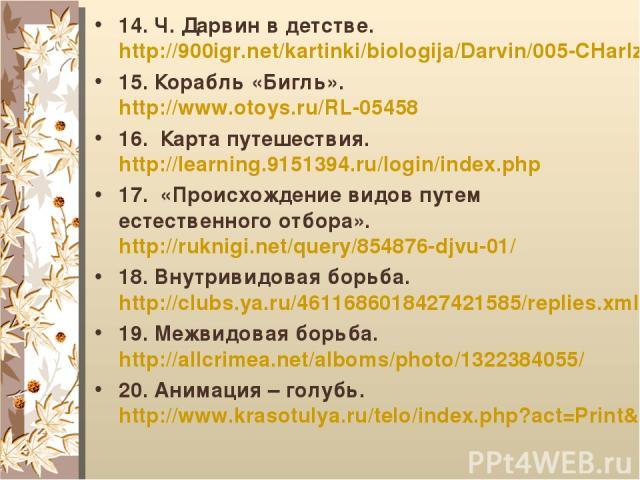 14. Ч. Дарвин в детстве. http://900igr.net/kartinki/biologija/Darvin/005-CHarlz-Darvin-v-vozraste-semi-let-1816-za-god-do-bezvremennoj.html 15. Корабль «Бигль». http://www.otoys.ru/RL-05458 16. Карта путешествия. http://learning.9151394.ru/login/ind…