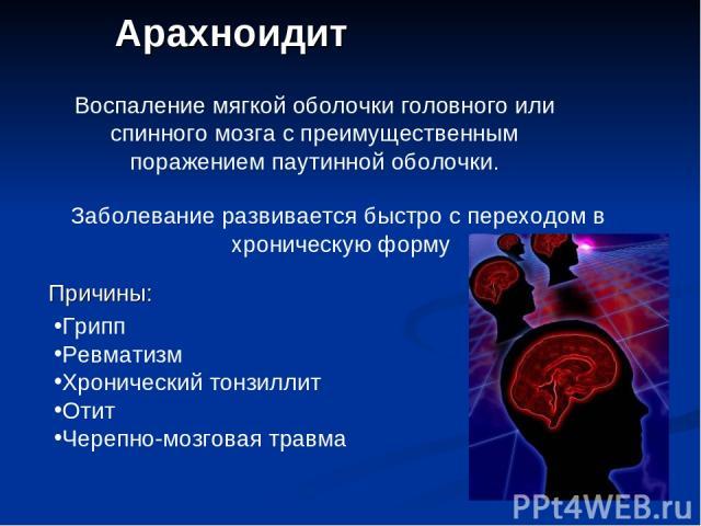 Арахноидит Воспаление мягкой оболочки головного или спинного мозга с преимущественным поражением паутинной оболочки. Заболевание развивается быстро с переходом в хроническую форму Причины: Грипп Ревматизм Хронический тонзиллит Отит Черепно-мозговая травма