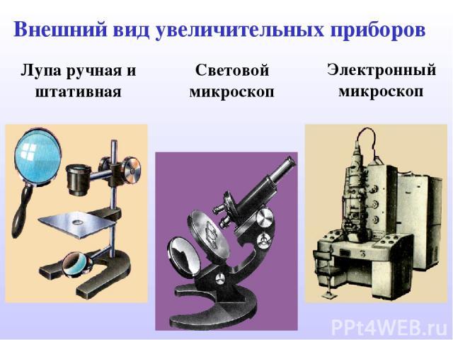 Лупа ручная и штативная Световой микроскоп Электронный микроскоп Внешний вид увеличительных приборов