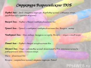 Структура Всероссийского ТЮБ Первый день – Заезд. Открытие турнира. Жеребьевка к