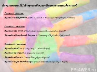 Результаты III Всероссийского Турнира юных биологов Диплом I степени: Команда «М