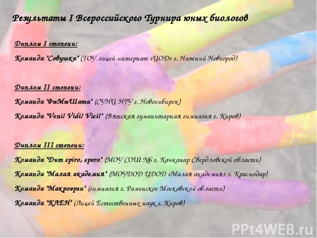 Результаты I Всероссийского Турнира юных биологов Диплом I степени: Команда