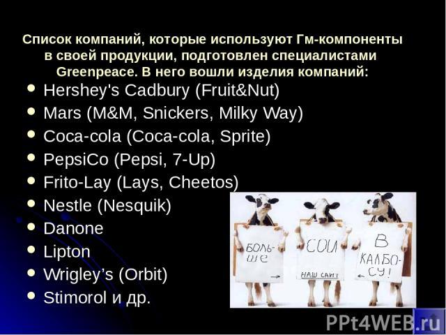 Список компаний, которые используют Гм-компоненты в своей продукции, подготовлен специалистами Greenpeace. В него вошли изделия компаний: Hershey's Cadbury (Fruit&Nut) Mars (M&M, Snickers, Milky Way) Coca-cola (Coca-cola, Sprite) PepsiCo (Pepsi, 7-U…