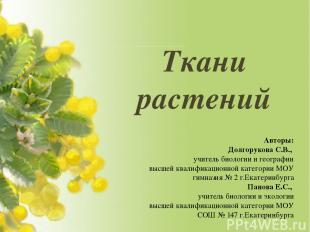 Ткани растений Авторы: Долгорукова С.В., учитель биологии и географии высшей ква