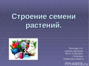 Строение семени растений. Волощук Л.А. учитель биологии МОУ «СОШ №4» г.Тобольск