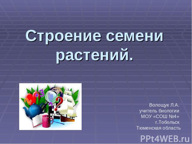 Строение семени растений. Волощук Л.А. учитель биологии МОУ «СОШ №4» г.Тобольск Тюменская область