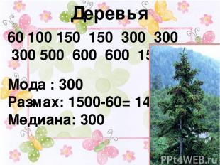Деревья 60 100 150 150 300 300 300 500 600 600 1500 Мода : 300 Размах: 1500-60=