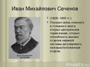 Иван Михайлович Сеченов (1828- 1905 гг.) Показал связь спинного и головного мозг