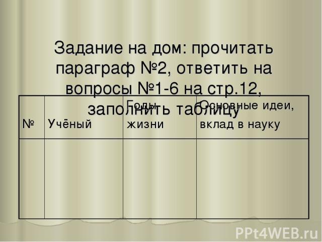 Задание на дом: прочитать параграф №2, ответить на вопросы №1-6 на стр.12, заполнить таблицу