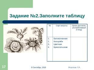 * Яковлева Л.А. * Задание №2.Заполните таблицу № Сорт капусты Орган растения, уп