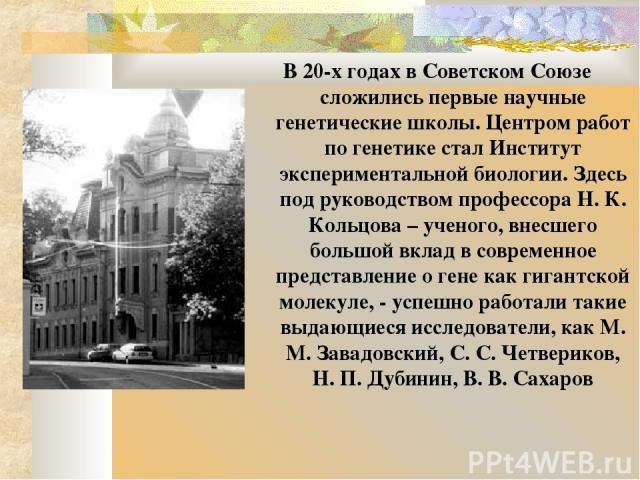 В 20-х годах в Советском Союзе сложились первые научные генетические школы. Центром работ по генетике стал Институт экспериментальной биологии. Здесь под руководством профессора Н. К. Кольцова – ученого, внесшего большой вклад в современное представ…