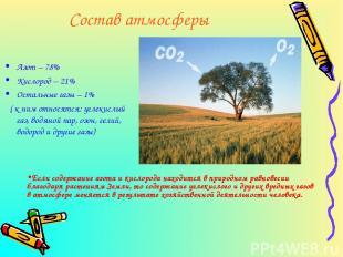 Состав атмосферы Азот – 78% Кислород – 21% Остальные газы – 1% ( к ним относятся