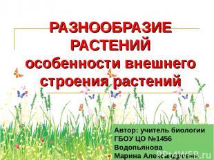 РАЗНООБРАЗИЕ РАСТЕНИЙ особенности внешнего строения растений Автор: учитель биол