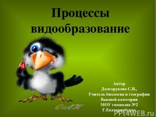 Процессы видообразование Автор Долгорукова С.В., Учитель биологии и географии Вы
