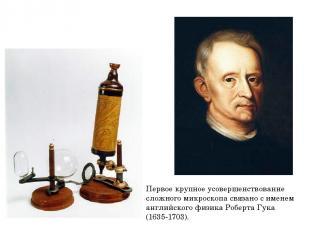 Первое крупное усовершенствование сложного микроскопа связано с именем английско